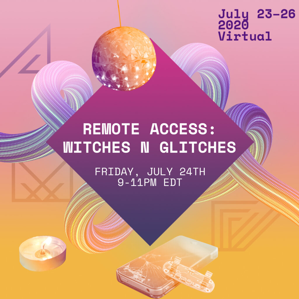 A center square portal with purple-pink gradient holds all-caps white letters. REMOTE ACCESS: WITCHES N GLITCHES / FRIDAY, JULY 24TH / 9-11PM EDT. 4 other square portals hold info about the party: ASL / CAPTIONS / AUDIO DESCRIPTION / SOUND DESCRIPTION / ACCESS DOULAS / FACILITATORS; SPELLS: AIMI HAMRAIE / MOIRA WILLIAMS / EZRA BENUS + PEREL; VIBES: DJ CRIP TIME / DJ WHO GIRL; CHOREO: OCTAVIA ROSE / JERRON HERMAN; SHOWS: YO-YO LIN + KEVIN GOTKIN / ALOPEXIAN. 3 objects have an orange-yellow overlay: a glittering disco ball made with uneven glass shards, a cracked early iPhone with an arduino board resting on one side, and a lit votive candle. A magic portal does loops in the background - no beginning or end in the frame. The logo of the Allied Media Conference - tri/angular A, M, and C - is at the bottom of the yellow-ink gradient background. In the top right corner: July 23-26 / 2020 / Virtual. This flyer was designed by Kevin Gotkin using a kit provided by the Allied Media Conference artist-organizers.